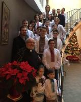 "Metropolitan Lawrence hosted carolers from Ukrainian Scout Organization ""Plast""."